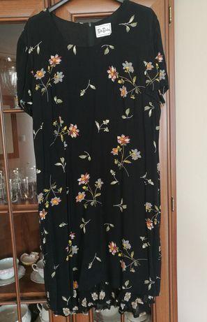 Sukienka w kwiaty, na lato, letnia, czarna, krótka
