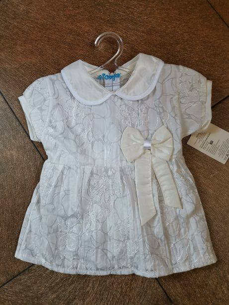 NOWA śliczna sukienka chrzest roczek rozmiar 74, 86