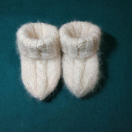 Носочки пинетки из ангоровой пряжи (носки) для новорожденных