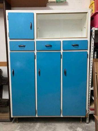 Armário de Cozinha Azul Formica Retro/Vintage Anos 60