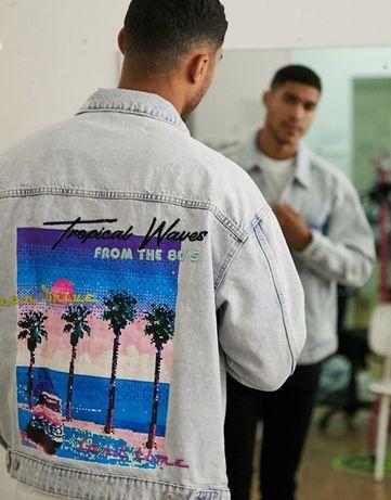 Мужская джинсовая куртка BERSHKA оверсайз джинсовка с принтом РЕТРО