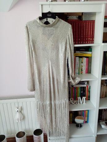 Bogato zdobiona sukienka Asos rozm. XL