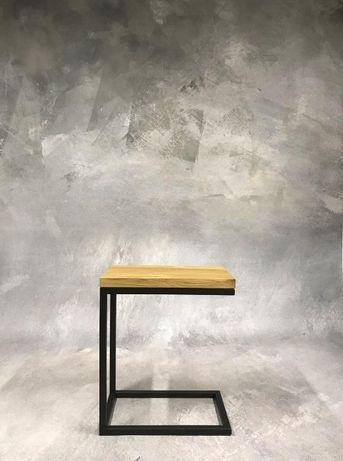 stolik nocny pomocniczy kawowy stal dąb loft industrialny lite drewno