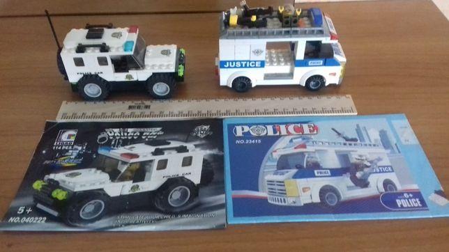 Конструктор (типо лего)полицейские машинки(джип и автобус)