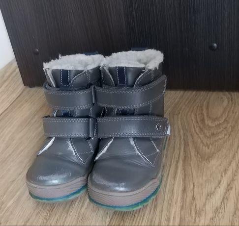 Buty zimowe Bartek kozaki 24 ocieplane na rzepy szare buciki za kostkę