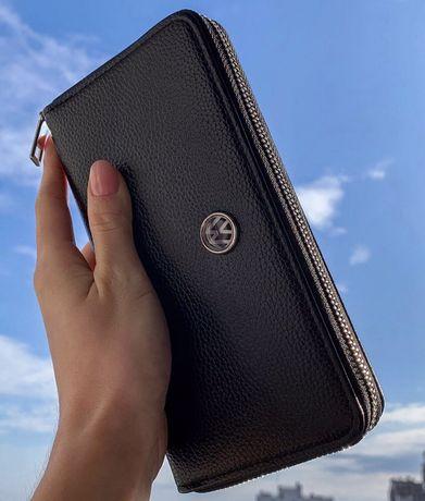 Автопортмоне Мужской кожаный кошелек портмоне клатч с логотипом Авто