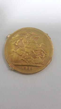 Золотая монета соверен (sovereign) 1965 года ( деформирована )