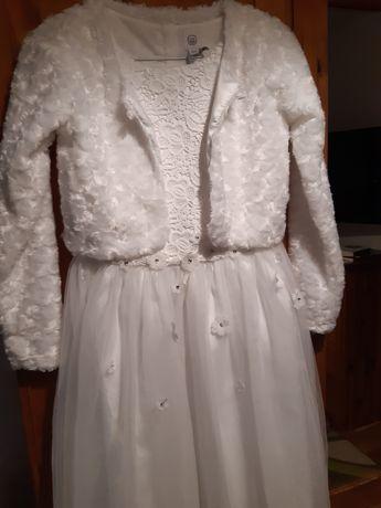 Komplet sukienka bolerko komunia 146 smyk