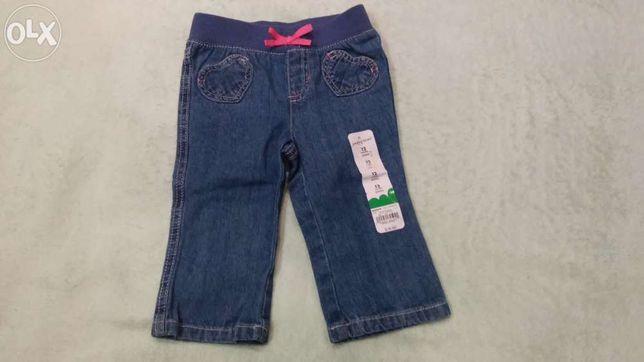 Новые джинсы (джинси) фирмы Jumping Beans для девочки 6-12 месяцев