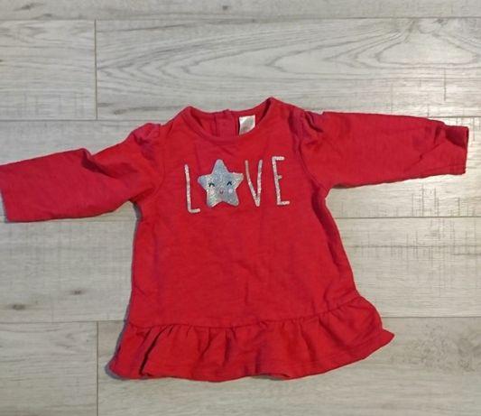 Bluza bluzka tunika długi rękaw falbanka czerwona C&A 68 baby club