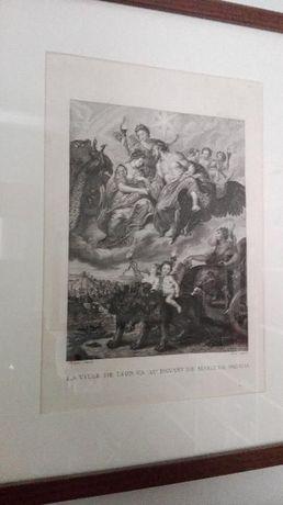 Gravura La Ville de Lyon va au devant de Marie de Medicis