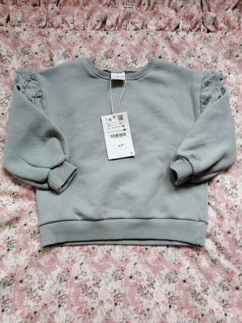 Zara Nowa piękna szara bluza z falbankami 104