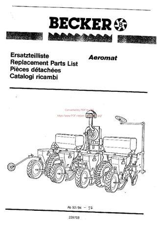 Katalog części siewnika BECKER areomat bj94-97