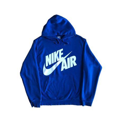 Niebieska bluza nike z kapturem hoodie duże logo vintage