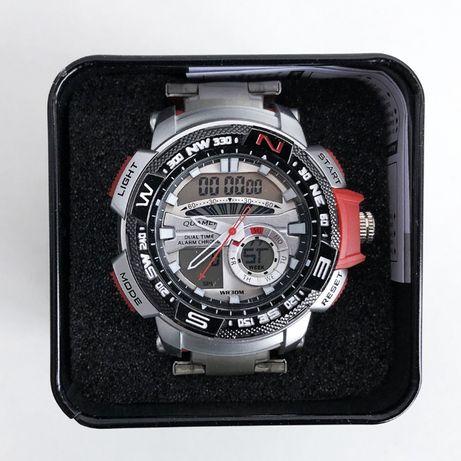 Часы наручные QUAMER в коробке, браслет карбон, dual time, waterproof