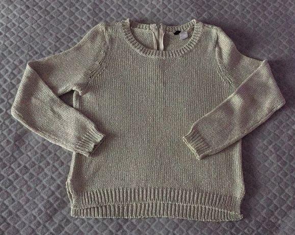 Szary sweterek H&M rozmiar 34 ze srebrną nitką