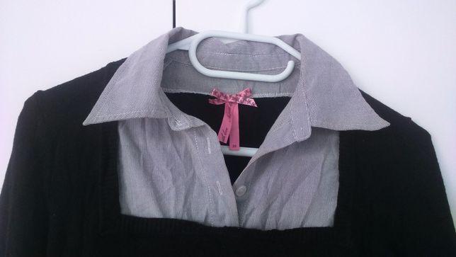Sweterek bluzka z kołnierzykiem rozm M