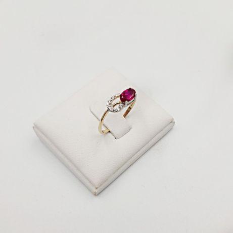 Złoty pierścionek złoto 585 różowe oczko różowy kamień cyrkonie - nowy