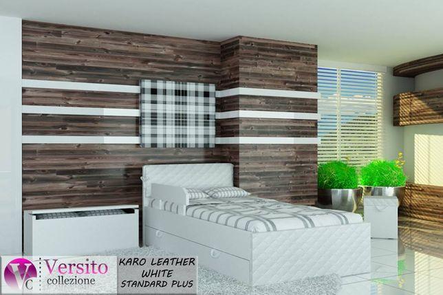 Łóżko tapicerowane skórą ekologiczną dla dziecka,dziecięce z materacem