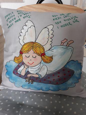 Ręcznie malowaną poduszka dla dziecka Aniołek komunia Św.