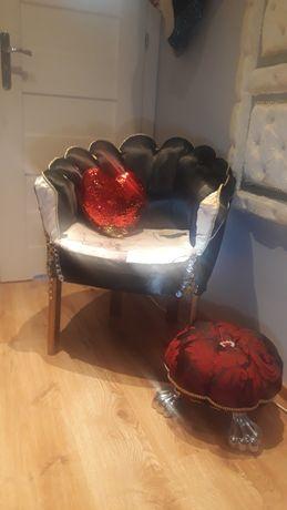 Tapicerowany fotel muszla glamur luksusowy elegancki złoto srebro