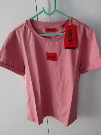 Nowa koszulka t-shirt Hugo Boss oryginalna różowa czerwona