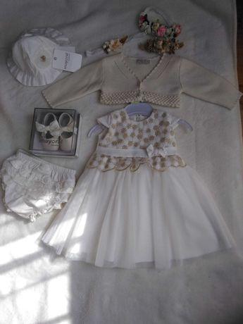 Sukienka zest komplet chrzest abrakadabra bolerko buty kapelusz 62 68