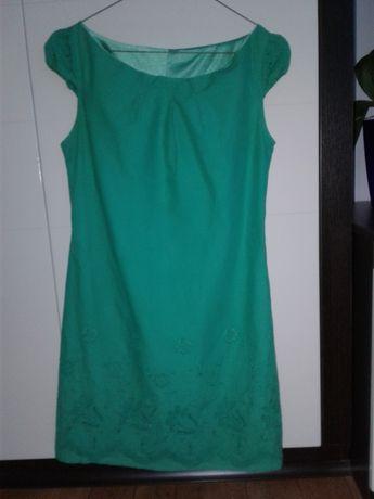 Платье зеленое сарафан летний вышитое перфорация ХС-С (34-36) XS-S
