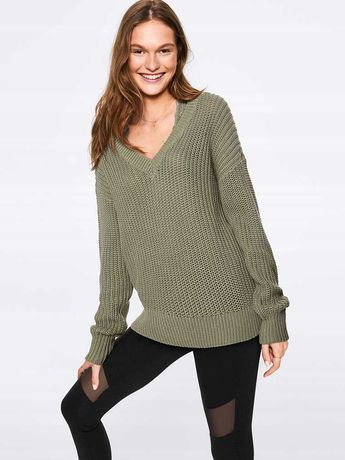 Victoria's Secret PINK sweter khaki zielony L 40