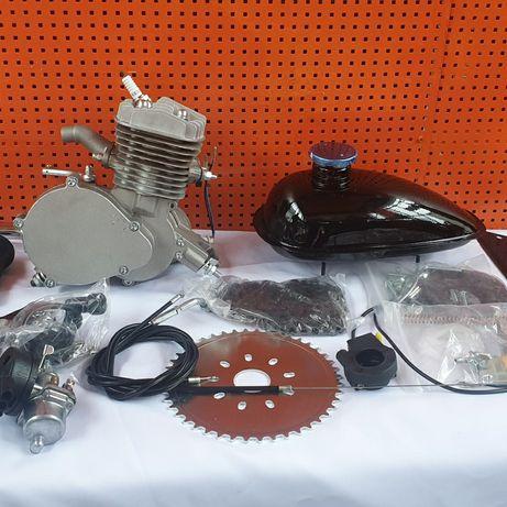 Веломотор F80 в сборе на велосипед  с ручным стартером.