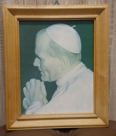 Obraz portret Papieża Papież Jan Paweł II reprodukcja PRL