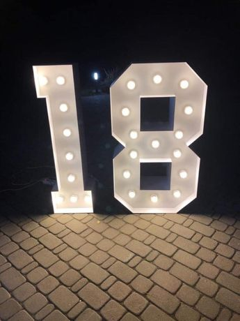 Podświetlany napis 18 urodziny, na osiemnastkę