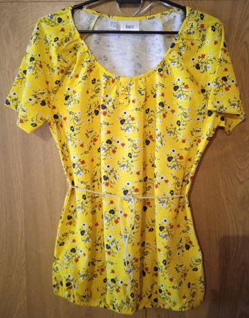 Bluzka żółta z krótkim rękawem w kwiaty