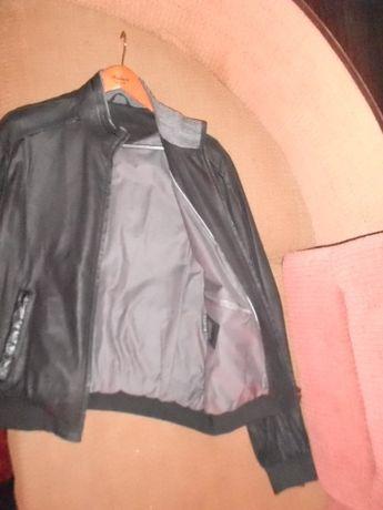 Куртка короткая осень весна, кожа giorgio mobiani