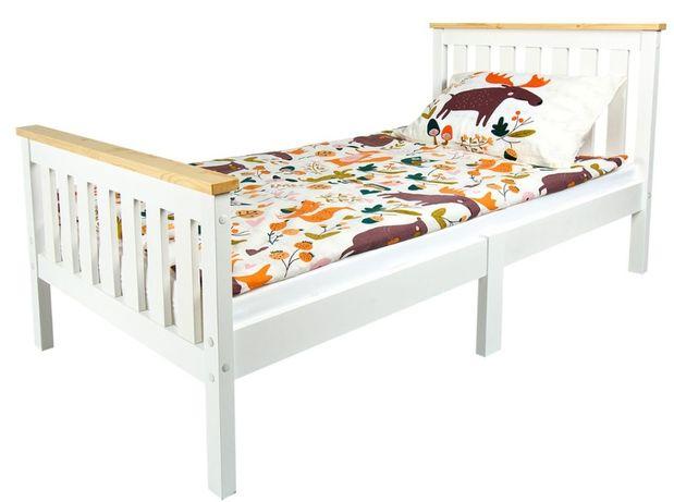 Drewniane łóżko białe Milano Pine 140/70 z materacem 102/246229