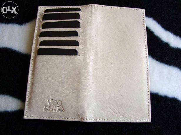 Porta-cartões e cheques em pele genuína NOVO