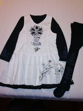 Vestido CATIMINI branco de menina com Colan e t-shirt a condizer