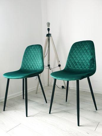 NOWE 2 krzesła krzesło patyczaki butelkowa zieleń nowoczesne design