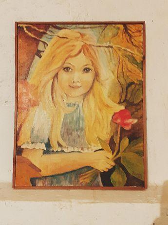 Obraz olejny 50x64 dziewczyna z kwiatkiem