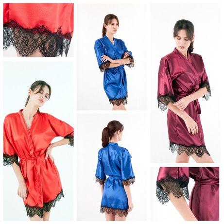 Женские атласные халаты с кружевом, ОПТ, Дропшипинг