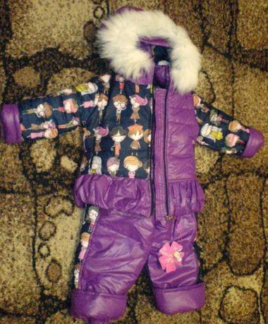 Новый зимний костюм куртка полукомбинезон штаны на бретелях 3-4 года