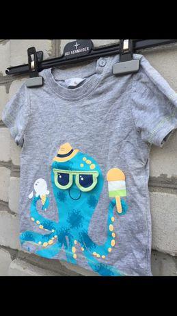 Крутая стильная серая футболка с голубым осминогом в очках от M&Co