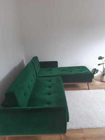 Narożnik Scandicsofa Klematisar z funkcją spania, zielony welur