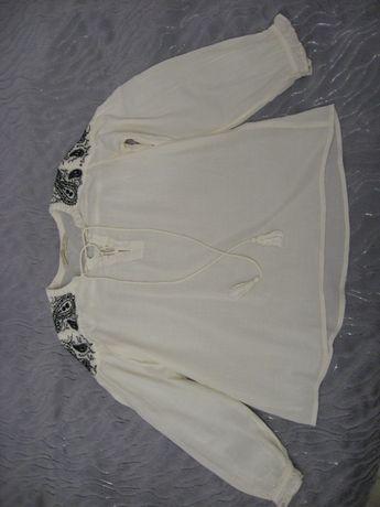 Zara- ecru koszula boho z haftem, rozmiar XS.