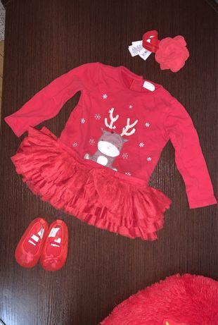 Костюмчик наряд для девочки 9-12 мес пинетки платье красное