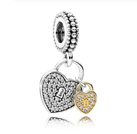 Srebrny charms dla DZIECKA dwa serca klucz zamek do bransoletki Pandor