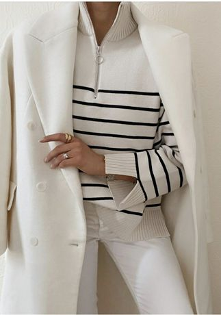 Poszukiwany blogerski wełniany płaszcz Zara ecru biały M/L/XL
