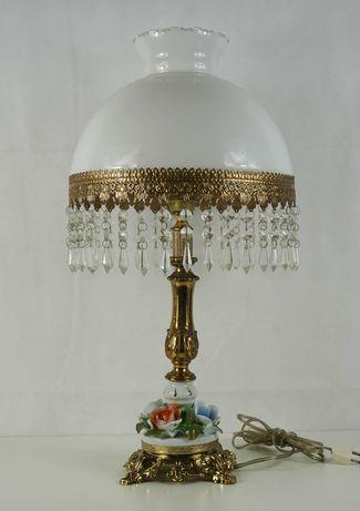 Piękna duża porcelanowa lampa z kryształami Włochy