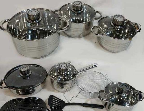 набор посуды Домашний RB-602, готовка еды 18штук, реинберг / кастрюли