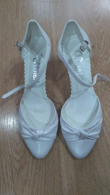 Białe damskie buty czółenka szpilki rozm.37 nowe